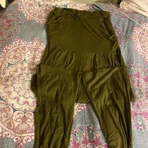 Olive green strapless jumpsuit